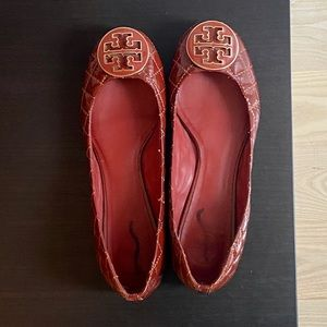 Tory Burch Patent Leather Dark Red Ballet Flats
